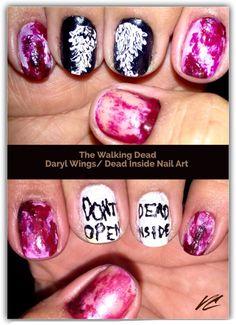 The Walking Dead nail art. Daryl Angel Wings. Don't open Dead Inside. Yes Christians, I too don't celebrate Halloween. I just enjoy nail art. & The Walking Dead.