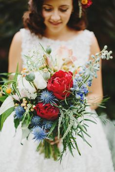 Peony wedding bouquet Idea, red white yellow and blue wildflower and peony bouquet Peony Bouquet Wedding, Blue Bouquet, White Wedding Bouquets, Bride Bouquets, Blue Wedding, Floral Wedding, Wedding Flowers, Lace Flowers, Wedding Dress