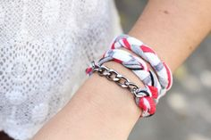 diy t-shirt bracelet - good idea for old t shirts that you can't make yourself give away