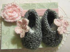 Crochet Newborn Baby Booties Slippers Flower Girl Shower Gift Photo Prop Baby Headband. $21.95, via Etsy.