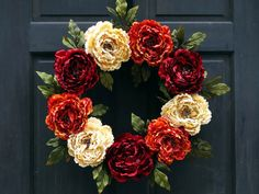 Fall Peony Wreath, Burgundy Red Cream & Rusty Orange Floral Wreath for Fall, Thanksgiving Door Wreath with Artificial Peonies