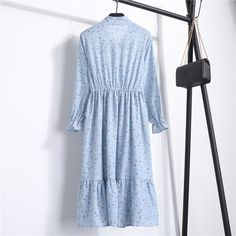 Summer Autumn Chiffon Print Dress Casual Cute Women floral Long Bowknot Dresses Long Sleeve Vestido S-XL Size Gender: Women Silhouette: A-Line Season: Autumn,Summer Neckline: Stand Waistline: Natural Material: Chiffon,Polyester,Cotton Sle. Dress Outfits, Casual Dresses, Fashion Dresses, Ruffle Dress, Boho Dress, Ruffles, Plus Size Outfits, Trendy Outfits, Vintage Long Dress