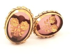 Whiting and Davis Vintage Jewelry Golden Floral Intaglio Amethyst Clip on Earrings