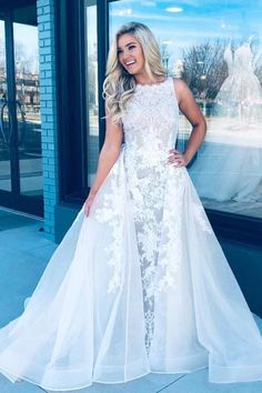 Cheap Lace Appliques Long Prom Dresses Vintage White Formal Party Dress – Okdresses Prom Dress Lace, Simple Evening Dresses, Plus Size Prom Dress, Best Prom Dresses, Mermaid Prom Dresses, Homecoming Dresses, White Long Prom Dresses, Pretty Dresses, Disney Wedding Dresses, Ladies Dresses, Prom Gowns, Formal Dresses