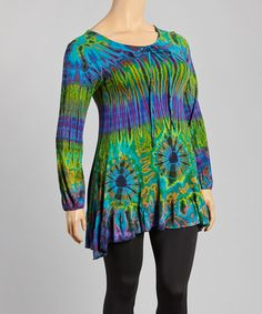 Look what I found on #zulily! Teal Tie-Dye Swing Tunic - Plus by Windcircle #zulilyfinds