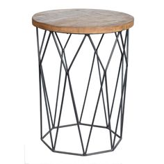 Modern farmhouse wood and metal accent end table.
