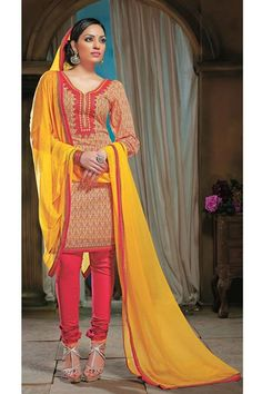 Printed Casual Wear Cotton Yellow,Red Suit