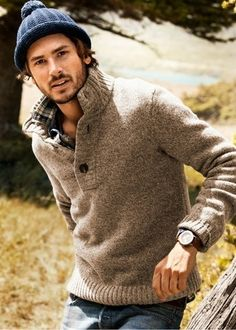beanie / neutrals / plaid shirting / men's watch / fisherman sweater
