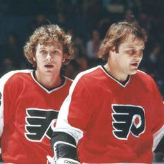 "Legendary Lines & Linemates -  ""Clark (left) and Barber (right) were joined by Reggie Leach  to form the LCB line"""