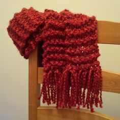 Hand knit, long skinny red scarf with gold thread detail. Red Scarves, Knits, Hand Knitting, Skinny, Detail, Hair Styles, Gold, Beauty, Fashion