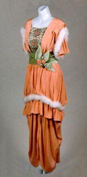 1913 Peach-Colored Hobble Skirt Dress via Yakima Valley Museum.