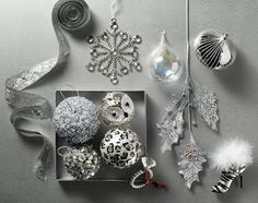 Silver Snowfall ornaments  I love the leopard print! Adds more glam