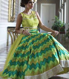 Buy Green silk hand woven semi stitched salwar with dupatta anarkali-salwar-kameez online