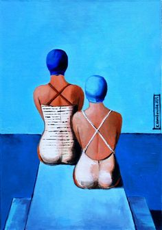 """""""Pływaczki"""" 2015, akryl na płótnie, 50x72 kasianowakowska.pl #painting #art #artwork #nowakowska"""