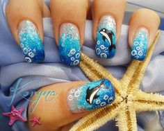 Dolphin Nail Gradient. So cute!