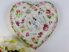 Coeur décoration, vaisselle rose Vintage