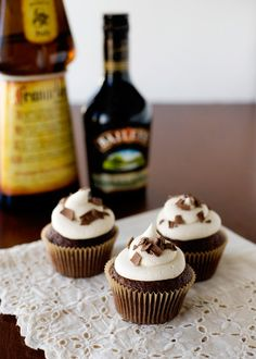 Nutty Irishman Cupcakes inspired by the drink. These cupcakes are made with devils food cake mix and Frangelico. The frosting is made with Bailey's Irish Cream. Yummy!