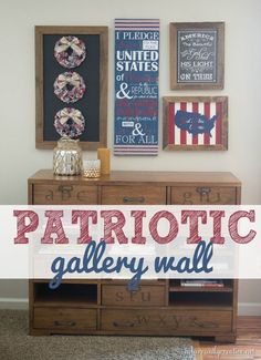 Patriotic gallery wall made with all handmade art for the Fourth of July