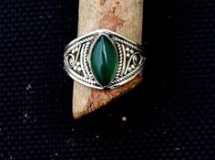 Bague onyx vert bague en argent anneau de Pierre 925 par avicraft
