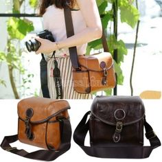 Retro Leather Messenger Bag Waterproof DSLR SLR Camera Bag For Nikon Canon Pentax SONY