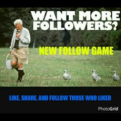 NEW FOLLOW GAME Let's grow followers together! Very simple to do...  1. LIKE this page 2. SHARE with your followers 3. FOLLOW all who liked this page  ....meet new followers and posh on MK Bags