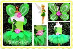 Tinkerbell Set- Tutu with matching wings and headband- leaves are made of satin!!