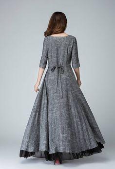 grey linen dress classic dress slip extender maxi linen