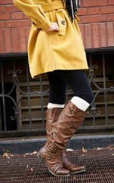 Great yellow raincoat with leather riding boots