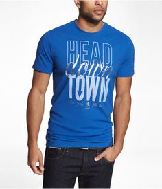 Express Mens Graphic Tee Head Downtown Amalfi Blue, Xx Large