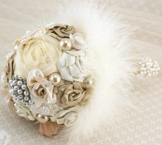 Brooch Bouquet Champagne Tan Cream Ivory Bridesmaids