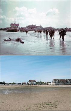 6 June 1944: Troops of the 3rd Canadian Infantry Division land at Juno Beach on the outskirts of Bernières-sur-Mer on D-day. 5 May 2014: A view of the seafront and beach in Normandy today. 340 Canadian soldiers lost their lives in the battle for the beachhead.
