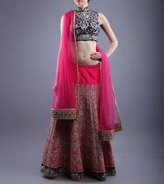 Pink & Blue Tilla Embroidered Velvet & Raw Silk Lehenga Set  http://www.shadesandyou.com/product/pink-blue-tilla-embroidered-velvet-raw-silk-lehenga-set/   #DressLehenga #BridalLehengaCholi #LehengaCholi #BridalLehengas #DesignerLehengas
