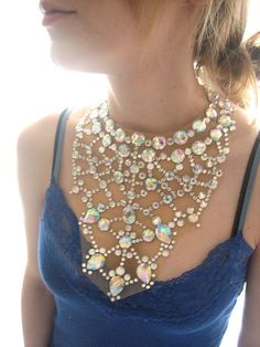 Mega Statement Necklace by Sparkle Beast Designs #statementnecklace #bignecklace #weddingnecklace #bibnecklace