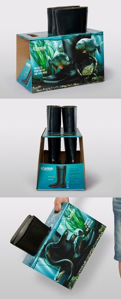 """""""Fisherman"""" boots packaging. This won the 2012 Pentawards packaging. from Kazakhstan. Brilliant idea for the product: feel safe in unknown waters with these rubber boots!"""