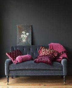 Charcoal and Raspberry, a lovely colour combination. This interior would be the perfect setting for my 'Elephant Hawk Moth' picture!