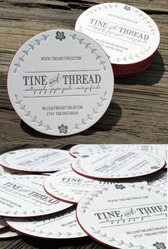Round Letterpress Edge Painted Business Card