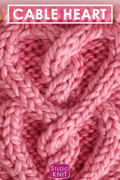 a pretty cable pattern for those you love! Learn How to Knit a Cable Heart with Free Knitting Pattern + Video Tutorial bySuch a pretty cable pattern for those you love! Learn How to Knit a Cable Heart with Free Knitting Pattern + Video Tutorial by Knitting Stiches, Knitting Videos, Knitting For Beginners, Loom Knitting, Knitting Patterns Free, Free Knitting, Knitting Projects, Crochet Stitches, Free Crochet