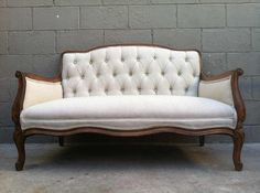 Vintage French Tufted Settee Loveseat Sofa by rustygold73 on Etsy, $700.00