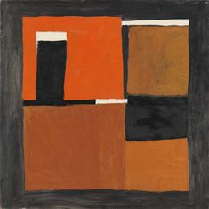 William Scott 1913–1989 Title Orange, Black and White Composition Date 1953 Medium Oil paint on canvas Dimensions Support: 1219 x 1219 mm frame: 1260 x 1268 x 65 mm Collection Tate William Scott 'Orange, Black and White Composition', 1953 © The estate of William Scott
