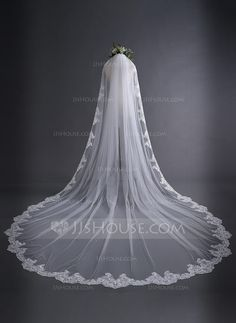 [£ 27.00] One-tier Lace Applique Edge Cathedral Bridal Veils (006128096) Wedding Linens, Wedding Veils, Wedding Dresses, Bridal Veils, Wedding Flowers, Summer Wedding Guests, Wedding Gifts For Groom, Inexpensive Wedding Venues, Cheap Wedding Invitations