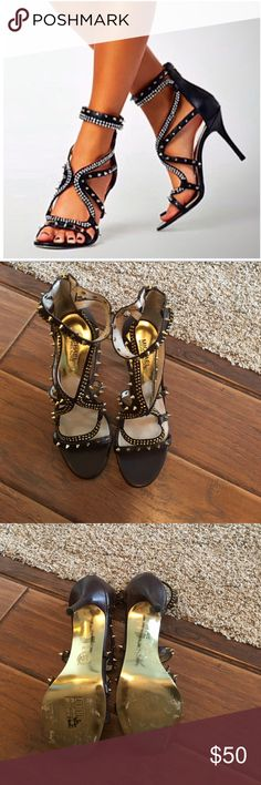 Sassy spikey Michael Kors sandals Brown with gold spikes - worn once MICHAEL Michael Kors Shoes Heels