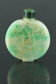 Lot:Chinese Green Jadeite Carved Snuff Bottle, Lot Number:78, Starting Bid:$300, Auctioneer:888 Auctions, Auction:CHINESE CARVINGS, CERAMICS AND WORKS OF ART, Date:11:00 AM PT - Sep 10th, 2015