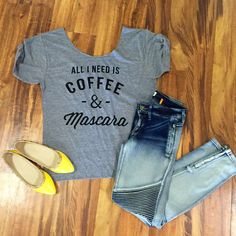 Mascara and coffee tee