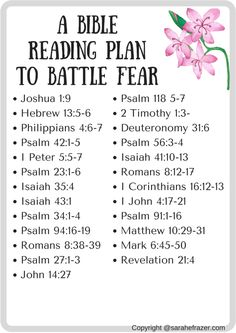Fear Reading Plan - Sarah E. Frazer - Fear Reading Plan – Sarah E. Frazer Fear Reading Plan – Sarah E. Bible Study Plans, Bible Plan, Bible Study Tips, Daily Bible Reading Plan, Women's Bible Study Books, Bible Study Journal, Scripture Reading, Scripture Study, Bible Verses Quotes