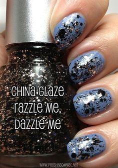 China Glaze Razzle Me, Dazzle Me (over Fade Into Hue)