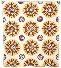 "Tennessee ""Mariner's Compass"" Quilt in Red, Yellow and Green , - Cowan's Auctions"