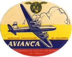 'Avianca Airlines Columbia' Photographic Print by midcenturydave Logo Sticker, Sticker Design, Airline Logo, Vintage Hotels, Luggage Labels, Vintage Travel Posters, Vintage Airline, Aviation Art, Stickers