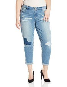 Fashion Bug Womens Plus Size 30 Inch Skinny Girlfriend Cropped Leg Opening www.fashionbug.us #PlusSize #FashionBug #Jeans