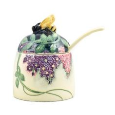 Wisteria Floral Ceramic Bee Honey Pot Old Tupton Ware - not vintage.