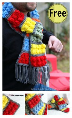 Crochet Scarf Ideas Awesome Lego Brick Scarf Free Crochet Pattern - If you have Lego fans at home, you can use this Awesome Lego Brick Scarf Free Crochet Pattern to create a scarf that looks like their favorite toy. Lego Crochet, Crochet Kids Scarf, Crochet For Boys, Crochet Gifts, Crochet Scarves, Crochet Shawl, Free Crochet, Knit Crochet, Crocheted Scarf